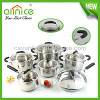 12pcs 3-layers casulated Upscale&high quality kitchen cooking pot stainless steel cookware