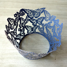 Laser cutting cake tools pearl paper navy blue butterfly Cup Cakes Wraps Cupcake Wrappers for birthday party