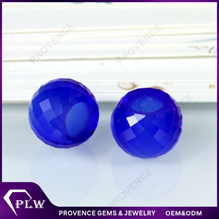 Machine cut 10.5mm synthetic sapphire blue glass large hole bead for DIY jewelry making