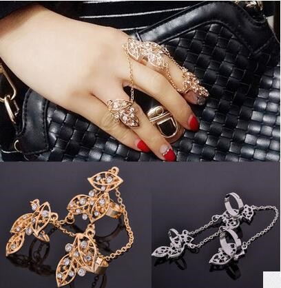 Fashion Rhinestone Leaves Full Finger Chain Knuckle Armor Hollow Out Finger Ring Gold#1136