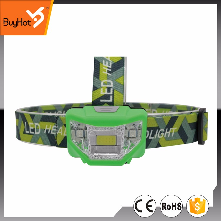 Hot Sell 3W COB+2 Red LED Head Lamp, Comfortable Head Strap, Powered by 3xAAA, Red Blinking LED has the Emergency Function