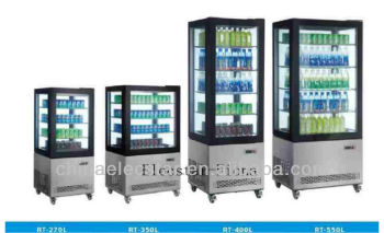 Refrigerated showcase with Four side glass for cakes, rolls and sandwiches or drinks