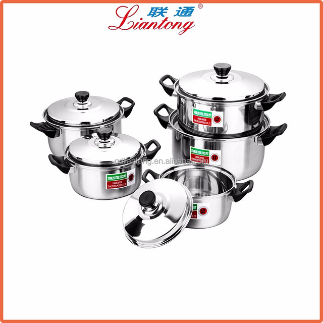 hot selling 2017 amazon Low price 5pcs Cookware set stainless steel kitchen ware Casserole pot with cover