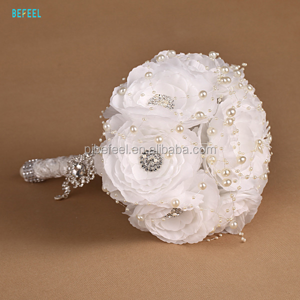 Crystal all white silk flowers party wedding flowers bouquet with rhinestone