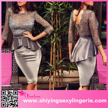 Latest design ladies office wear dress fashion shiny hollowed lace top velvet peplum dress