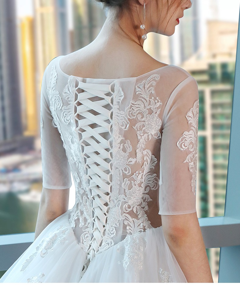 Wholesale elegant Scoop neckline Three-Quarter Sleeve wedding gown pakistani bridal dresse bridal gown wedding dress 2020  TS102