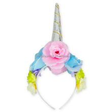 Shiny Unicorn Horn Ears Flower Headband Cosplay Costume Kids Return Gifts For Birthday