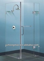 Frameless shower enclosure,shower panel with brass hinges