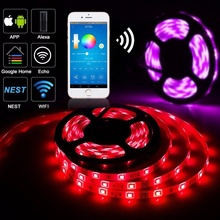 Alexa Compatible Full Kit 5M 16.4ft <strong>RGB</strong> Wifi Smart Phone Wireless Control 12V 300LED 5050 LED Smart Strip light
