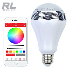 Smart Phone Wireless 12W E27 LED Bluetooth Speaker Bulb Light Lamp Music Playing RGB Lighting with Remote Control free shipping