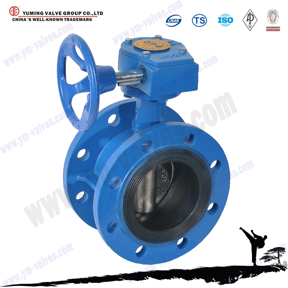 API/DIN/BS standard double Flanged ends cast iron Manual,worm gear operated butterfly valves