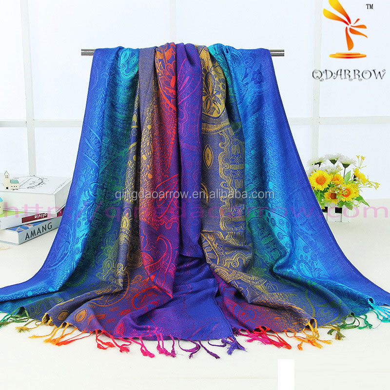 Linen shawl blanket scarf traditional Chinese flaovr in multi-colors