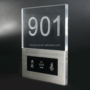 Different Color Led Lighting Room Number Custom Acrylic Hotel Touch Doorplate