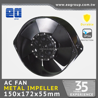 Taiwan UL CE TUV ROHS Certified IP54 AC Metal Impeller Air Cooling Fan in 172x150x55mm High Temperature Duration