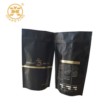Matte black resealable stand up coffee bag with valve and golden printed