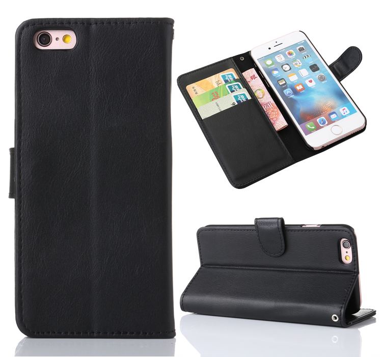 Retro Style PU Leather Flip Wallet Case with Card Slots Stand for iPhone 6S Plus