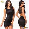 Ecoach Wholesale OEM Women Sexy Hollow Back Skinny Mini Dress Sleeveless Lace Crochet Bodycon Dresses