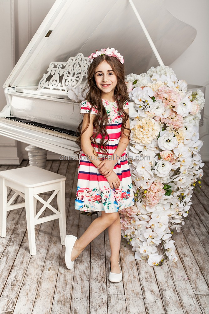 High Grade Sleeveless baby girl flower cotton summer dresses