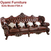 Best quality Modern classic Rococo black and white leather sofa s...