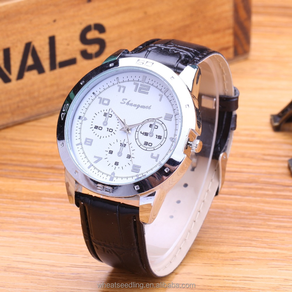 2015 fashion business genuine leather strap 3 dials watch for men