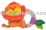 Baby soft rattle with clear ring
