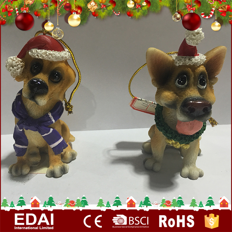 Artificial 2 assorted little dog polyresin promotional gifts crafts with Christmas hat