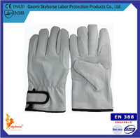 Strap wrist fleece-lined pigskin gloves, top layer leather gloves