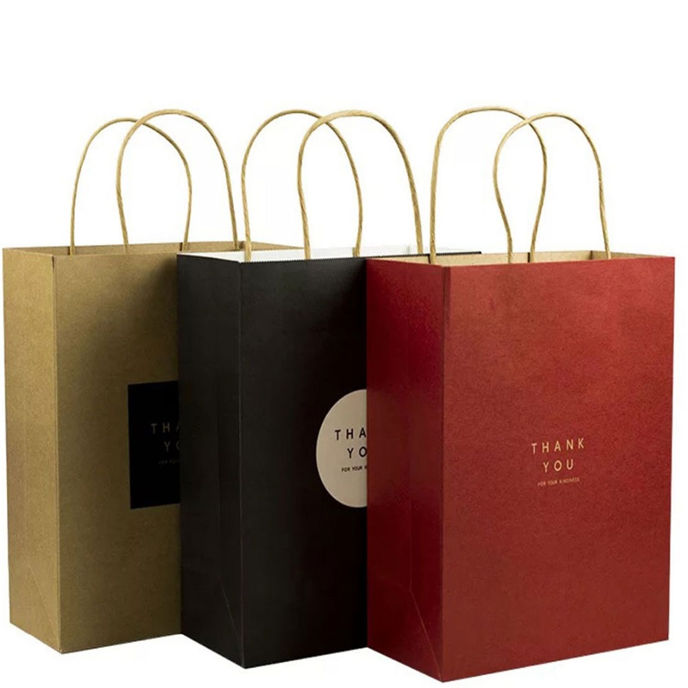 High quality easy open plain cheap brown craft paper bags with handles