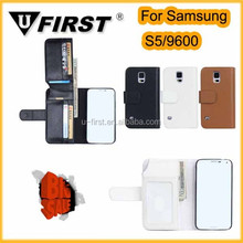 2014 newest wallet pu leather case for samsung s5 i9600 with card slot and Photo Frame