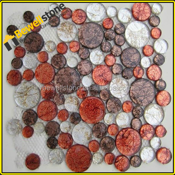 Pink & red crystal glass tile round mosaic tile for bathroom spa aera
