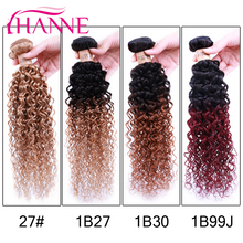 Ombre Curly Hair Extensions 100% Human Hair Products Malaysian Kinky Curly HairWeave Blonde & Burgundy Color Factory Wholesale