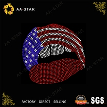 Stars and Stripes afro girl rhinestone transfer of lips shape