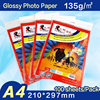 A4 Inkjet paper 135G Glossy Photo Paper 210x 297mm 100 sheets per pack with waterproof colorful bag