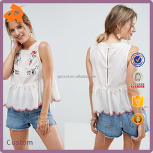 customize sleeveless embroidery blouse women,blouse material supplier in china