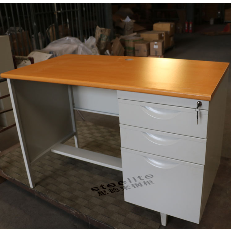 Modern Wood Top Knock Down Metal Frame Office Computer Table with Single Personal