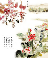 Chinese calligraphy and lotus design wallpaper with butterfly wall murals