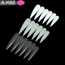 500pcs / Bag Nail Art Clear / Natural / White Half Cover False Long sharp stiletto Fake Artificial Nails Tips For Nails Salon