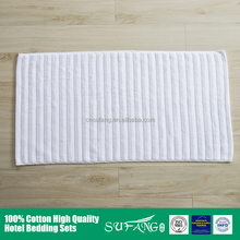 Hotel linen/White terry cloth jacquard Logo hotel cotton thin bath mat