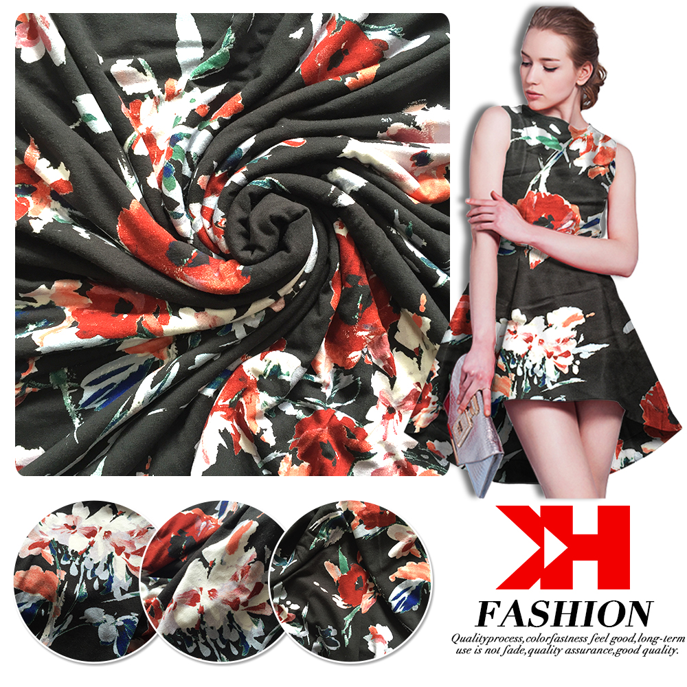 2017 Best selling rayon fabric print organza dress sublimation fabric