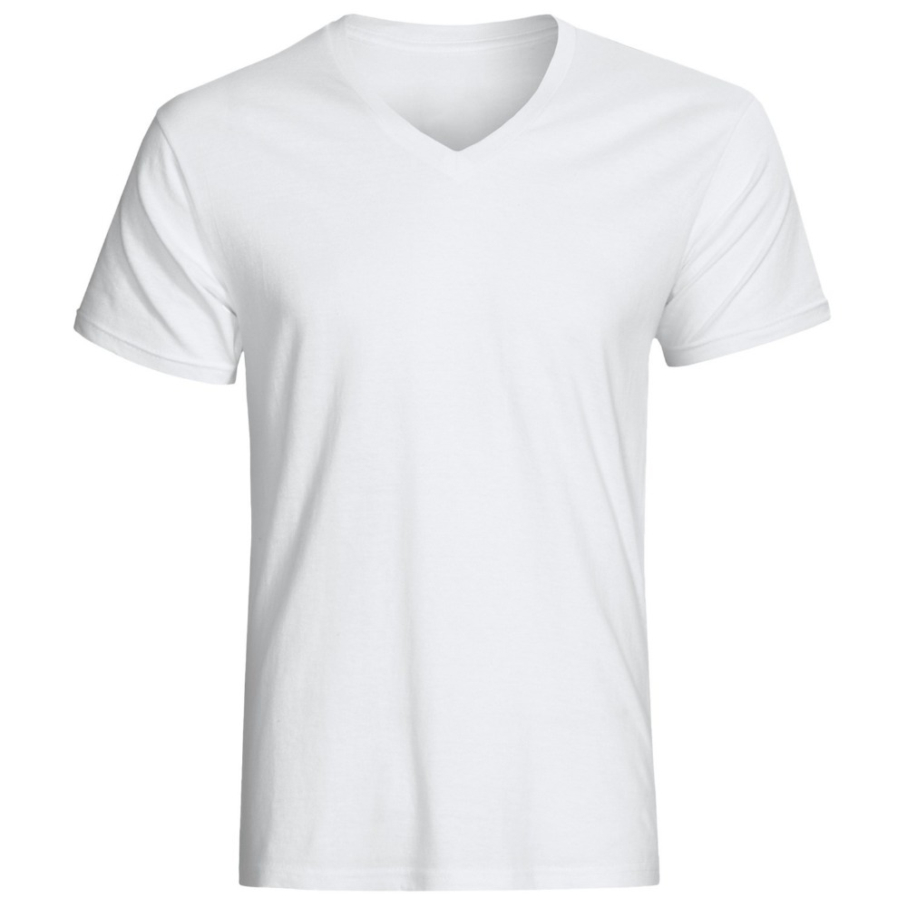 custom unisex white T shirt with O-neck / V-neck