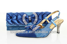 hot sale royall blue italian design wedding and party woman shoe and bag set matching woman 2013