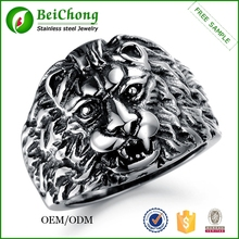 China supplier big men's jewelry stainless steel lion head rings