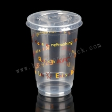 16oz wholesale disposable plastic cups with lids and straws