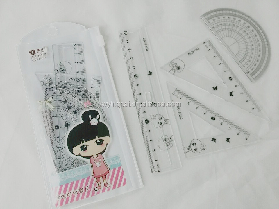 2014 Hot Sale Factory Wholesale School Plstic Stationary for Student Ruler Set rolling ruler