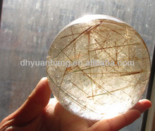 Natural rutilated rock quartz sphere/rutilated rock crystal ball