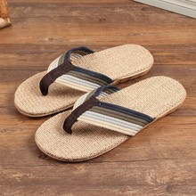 New design men woven straw flip flops