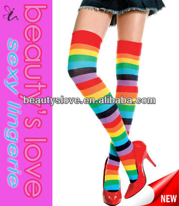 Fashion ladies sexy colorful thigh high striped stockings