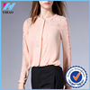 Yihao New Fashion Women Elegant OL Long sleeve lace patchwork lady Shirt Saree blouse designs for office Latest custom t-shirt