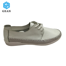 Lady's Pure Soft Leather Fashion & Comfortable Women Flat Casual Shoes