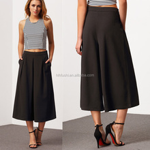 latest design factory wholesale 3/4 length culottes lady pants hot pants sale with wide leg sleeve